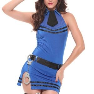 New! Sexy Blue Cop 5 Piece Costume Set